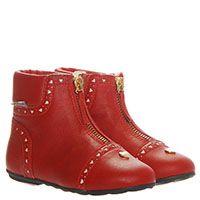 Кожаные сапоги красного цвета с перфорацией Moschino на меху, фото