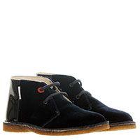 Туфли из текстиля синего цвета с лаковой пяточкой Moschino на шнуровке, фото