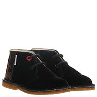 Туфли из текстиля с лаковой пяточкой черного цвета Moschino на шнуровке, фото