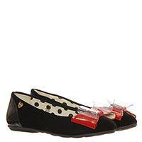 Текстильные туфли черного цвета с лаковым красным бантом Moschino, фото