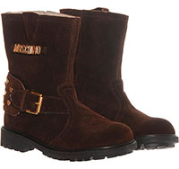 Замшевые ботинки Moschino с декором в виде заклепок и логотипа, фото