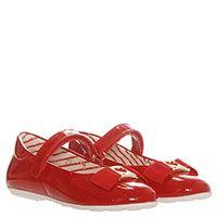 Красные туфли из лаковой кожи на липучках Moschino с текстильным бантом, фото