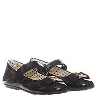 Туфли из лаковой кожи черного цвета на липучках Moschino с текстильным бантом, фото