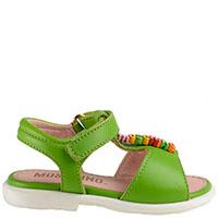 Кожаные босоножки Moschino ярко-зеленого цвета, фото