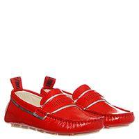 Мокасины из лаковой кожи красного цвета Moschino с фирменной надписью, фото