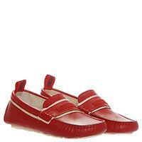 Кожаные мокасины красного цвета Moschino с фирменной надписью, фото