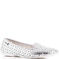 Серебристые туфли Moschino с перфорацией, фото