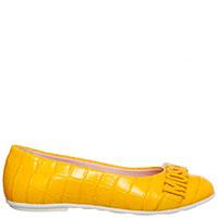 Желтые балетки Moschino с тиснением под рептилию, фото