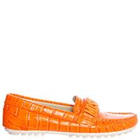 Мокасины оранжевого цвета Moschino с фактурным тиснением под кожу питона, фото