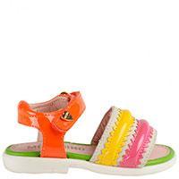 Лаковые разноцветные босоножки Moschino на застежке-липучке, фото