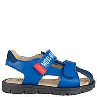 Сандалии Moschino из синей кожи на двух липучках, фото