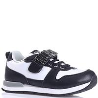 Кроссовки Moschino черно-белые с брендовым декором, фото