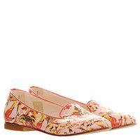 Кожаные туфли-лоферы бежевого цвета с ярким цветочным принтом Gallucci, фото