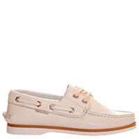 Кожаные мокасины Naturino белого цвета на шнуровке, фото