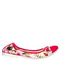 Текстильные балетки Andrea Morelli с цветочным принтом и лаковым носком , фото