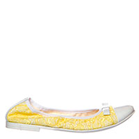 Желтые балетки Andrea Morelli с кожаным носком и бантиком, фото