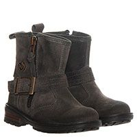 Замшевые ботинки серого цвета Naturino на молнии с декоративным ремешком, фото