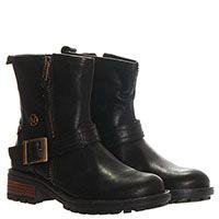 Ботинки из кожи черного цвета Naturino на молнии с декоративным ремешком, фото