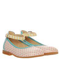Кожаные туфли на ремешке белого цвета в розовый горошек Gallucci, фото