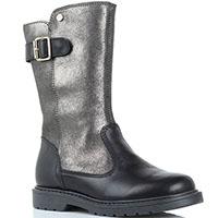 Кожаные сапоги Naturino черного цвета с серебристым голенищем, фото