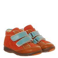 Замшевые ботинки оранжевого цвета на липучках голубого цвета Gallucci, фото
