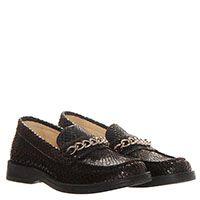 Кожаные туфли-лоферы коричневого цвета с имитацией кожи змеи  Naturino, фото