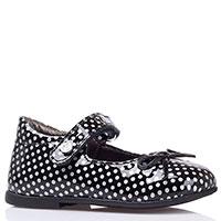 Лаковые черные туфли Naturino в белый горох, фото