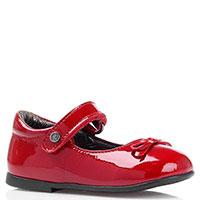 Лаковые туфли с ремешком и бантиком Naturino красного цвета, фото