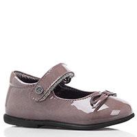 Туфли из лаковой кожи с ремешком и бантиком Naturino серого цвета, фото