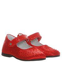 Красные туфли из текстиля на липучках Naturino декорированные стразами, фото