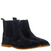 Замшевые ботинки-броги синего цвета с перфорацией Naturino на резинках и молнии, фото
