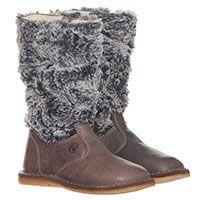 Кожаные сапоги коричневого цвета с меховым верхом Naturino, фото