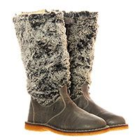 Кожаные сапоги серого цвета с меховым верхом Naturino, фото