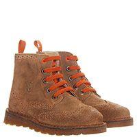 Замшевые ботинки-броги коричневого цвета с перфорацией Naturino на шнуровке, фото