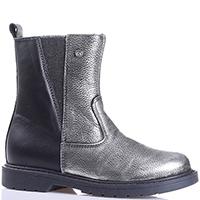 Ботинки Naturino с комбинации черной и серебристой кожи, фото