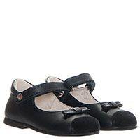 Кожаные туфли на липучках Naturino синего цвета с замшевым носочком, фото