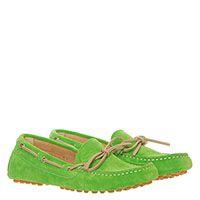 Яркие замшевые мокасины Gallucci зеленого цвета, фото