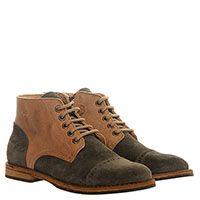 Ботинки из замши с кожаными деталями Gallucci коричневого и серого цвета, фото