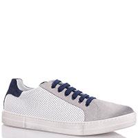 Кеды белые Naturino с синей шнуровкой, фото