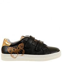 Кожаные кроссовки Naturino  с золотистыми вставками и шелкографией, фото