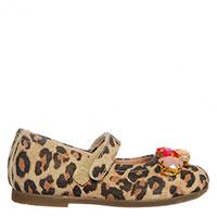 Замшевые туфли Monnalisa на липучке с декором камнями, фото