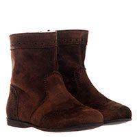 Ботинки из замши коричневого цвета с перфорацией Gallucci на меху, фото
