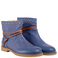 Синие ботинки Andrea Morelli с металлическими элементами и контрастным коричневым ремешком, фото