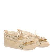 Пинетки-туфли из текстиля бежевого цвета на ремешках Miss Blumarine с бантом, фото