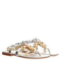 Серебристые кожаные сандалии Miss Blumarine украшенные цветами из камней, фото