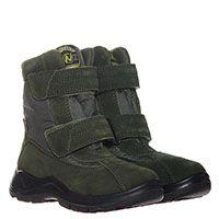 Зимние ботинки из замши зеленого цвета и текстиля Naturino на липучках, фото