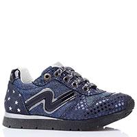 Синие кроссовки из замши Naturino с изображением звездочек, фото