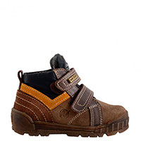 Ботинки Naturino непромокаемые из темно-коричневой кожи и замши, фото