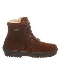 Замшевые ботинки Naturino темно-коричневого цвета на шнуровке и молнии, фото