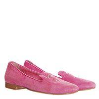 Туфли-лоферы из замши розового цвета Miss Blumarine с логотипом из страз, фото